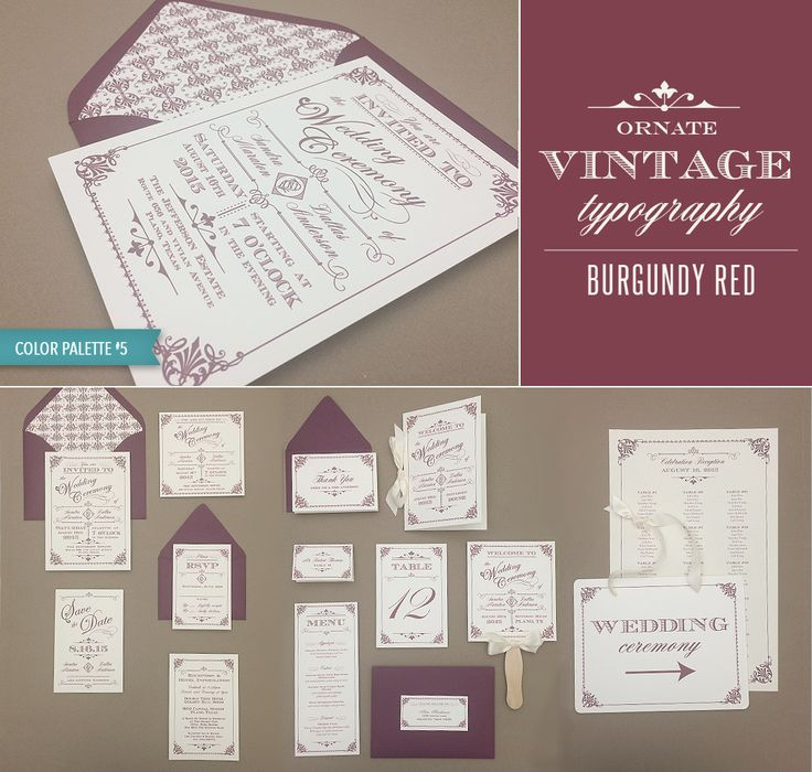 DIY Ornate Vintage Wedding Invitation Collection In Burgundy Red