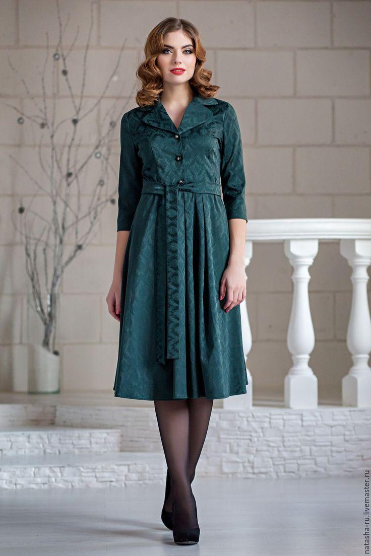 Купить Платье Мари темно-зеленое - тёмно-зелёный, орнамент, большой размер, повседневное платье