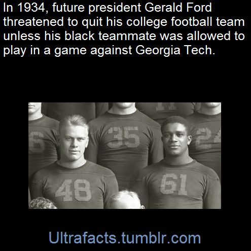 Teammates, roommates, friends: Gerald Ford (48) threatened to quit the University of Michigan football team in 1934 if fellow Wolverine Willis Ward (61) was benched against Georgia Tech because of the...