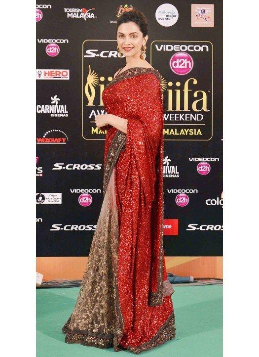 Deepika Padukone Designer Red Saree In IIFA Award 2015