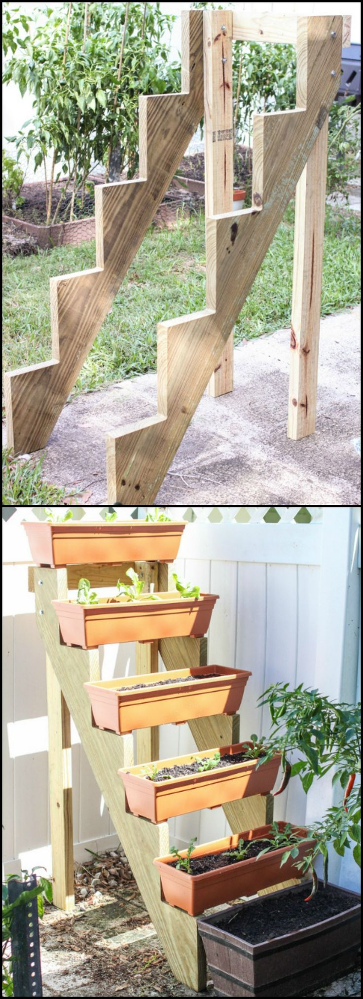Space-Saving Staircase Vertical Planter  http://diyprojects.ideas2live4.com/2015/12/08/space-saving-staircase-vertical-planter/  With this vertical garden you can grow more plants and herbs using less space. This staircase planter also makes work easier since you don't have to kneel and reach down to the ground to tend plants. And as a bonus, it prevents garden critters from getting to your produce!  Is this going to be your next garden project? :)