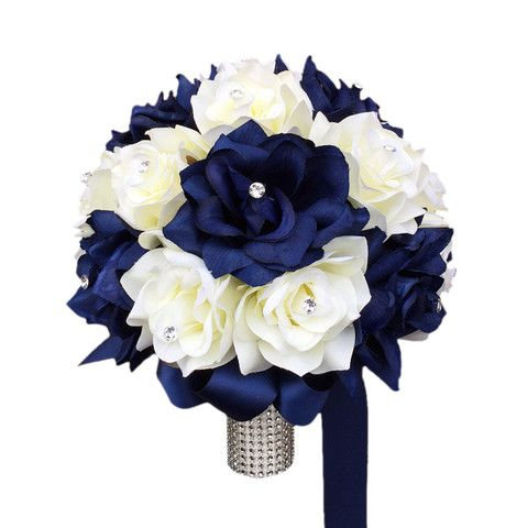 "10"" Bouquet: Navy Blue and Ivory Roses Wedding Bouquet- sub gardenias instead of white roses"