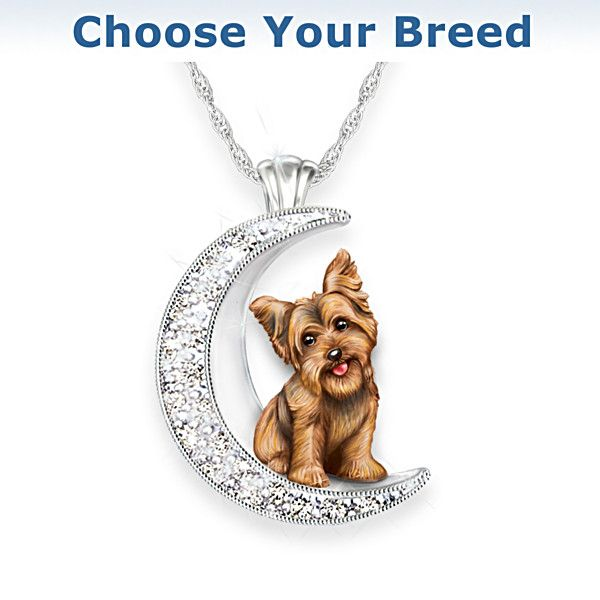 Dog And Crystal Moon Pendant Necklace Choose Your Breed Dog Lovers Moon Pendant Necklace Dog Pendant