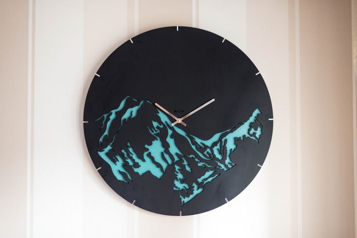 """Modern Wall Clock """"Mountains"""" Large Wall Clock, Wooden Clock, Wood Decor, mountains, white, hermle, wall clock, Interior, plywood, handmade by Lines4room on Etsy"""
