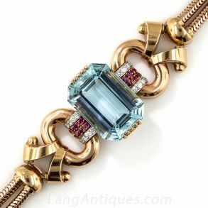 Tiffany & Co. Retro Aquamarine, Diamond and Ruby Bracelet