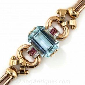 Tiffany & Co. Retro Aquamarine, Diamond and Ruby Bracelet