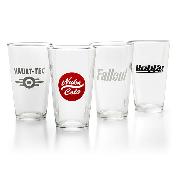 Get a buff to your charisma and increase the happiness in your settlement, by serving up some Nuka-Cola or Gwinnett Brew in this set of four Fallout-themed pint glasses. Includes Vault-Tec, RobCo Industries, Nuka-Cola, & Fallout logos. $25