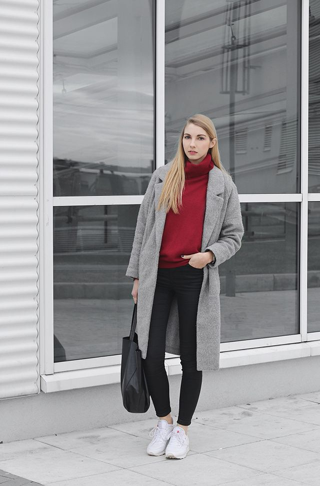 -red-turtleneck-top-with-gray-coat-and-black-pants