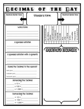 I've updated my Decimal of the Day sheet I use in my fifth grade math class to include a space for expanded form with exponents (as required by Common Core Math).   Fonts found on dafont.com; Decimal of the Day idea modified from the Number of the Day/Daily Data from AMSTI Math
