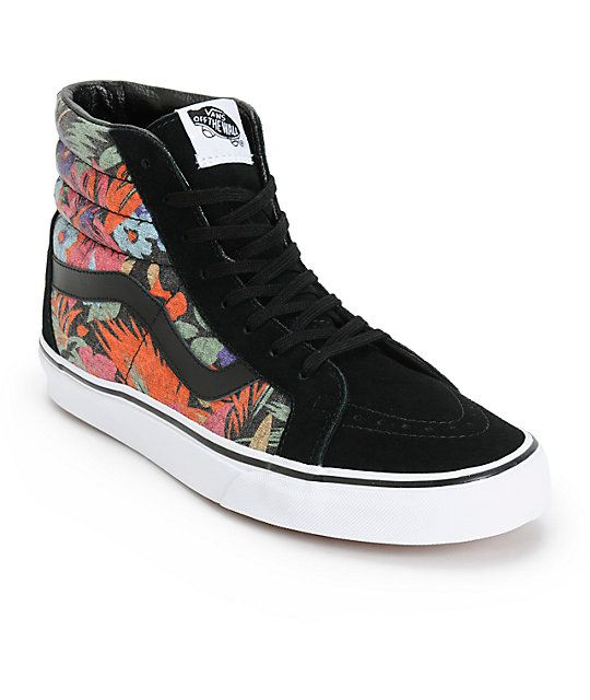 Add classic style to your outfits with retro reissue showcasing a black suede upper with floral print canvas high top side walls with a classic Vans waffle tread for grip.