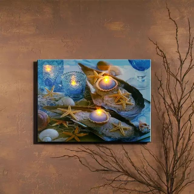 Led Canvas Marine Organism Starfish With Candles Wall Picture Canvas Painting Light Up Printing Artwork Decorati Canvas Pictures Light Painting Canvas Painting