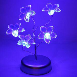 Kreativiteten LED-lampe blomster blå farge små natt lys soverom hode av en seng strømsparing batteri pære innredning utsetter den nåværende gave. - LLSUO.COM Norge huset kjøpesenter