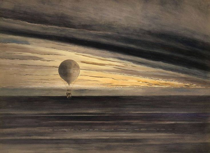 """""""The balloon 'Zénith' during a long distance flight from Paris to Arcachon in March, 1875. Probably drawn by Albert Tissandier"""""""