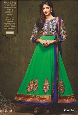 Green Georgette Dress material