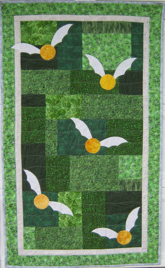 Beautiful, but not in Slytherin colors.  Harry Potter Slytherin Quilt by BadBabyQuilts on Etsy