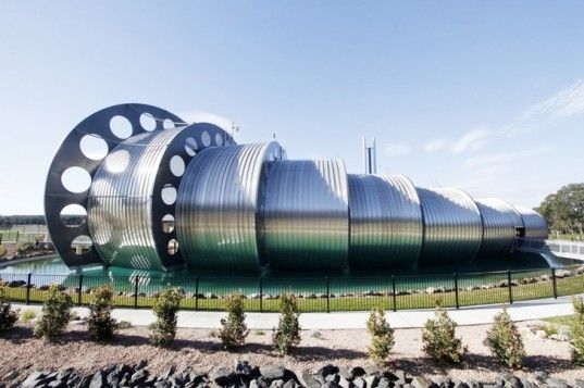 DesignInc's otherworldly Water Factory Vortex Center in Gippsland, Australia is made up of seven barrels that fit into each other to mimic the movement of water as it runs down a pipe