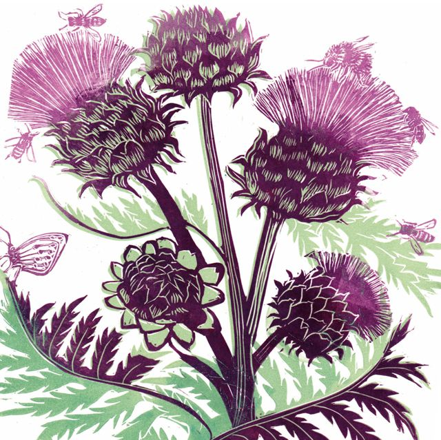 'Artichoke' By Printmkaer Caroline Barker. Blank Art Cards By Green Pebble. www.greenpebble.co.uk
