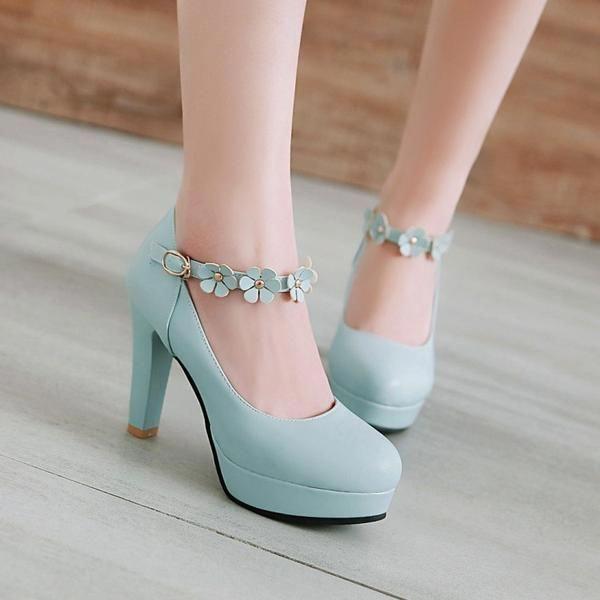 9882d8d44d New Women Pumps Hook Loop Ankle Strap Flower High Heel Woman rabbit ...