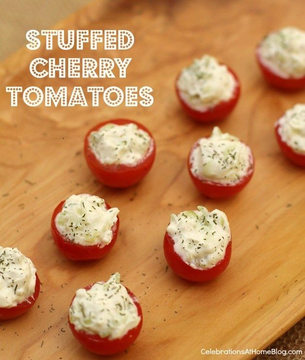 Cherry Tomatoes Stuffed with Benedictine Dip from Celebrations at Home