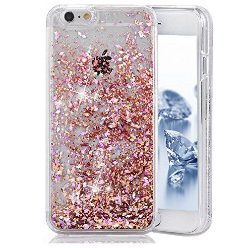 cool iPhone SE Case,iPhone 5S Case,iPhone SE Cover,Transparent Hard Clear Case for iPhone SE/5/5S,Ukayfe Novelty Design Glitter Bling Sparkles Shinny Hearts Flowing Liquid Anti Scratch Bumper Hard Case for Apple iPhone SE 2016 & iPhone 5 5S (Red Diamonds)