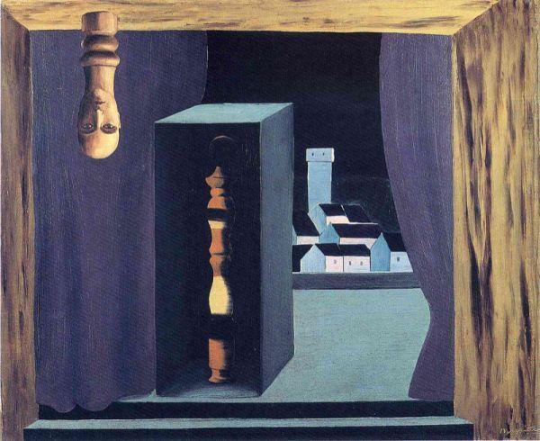 Reproduction de Magritte, Un homme célèbre. Tableau peint à la main dans nos ateliers. Peinture à l'huile sur toile.