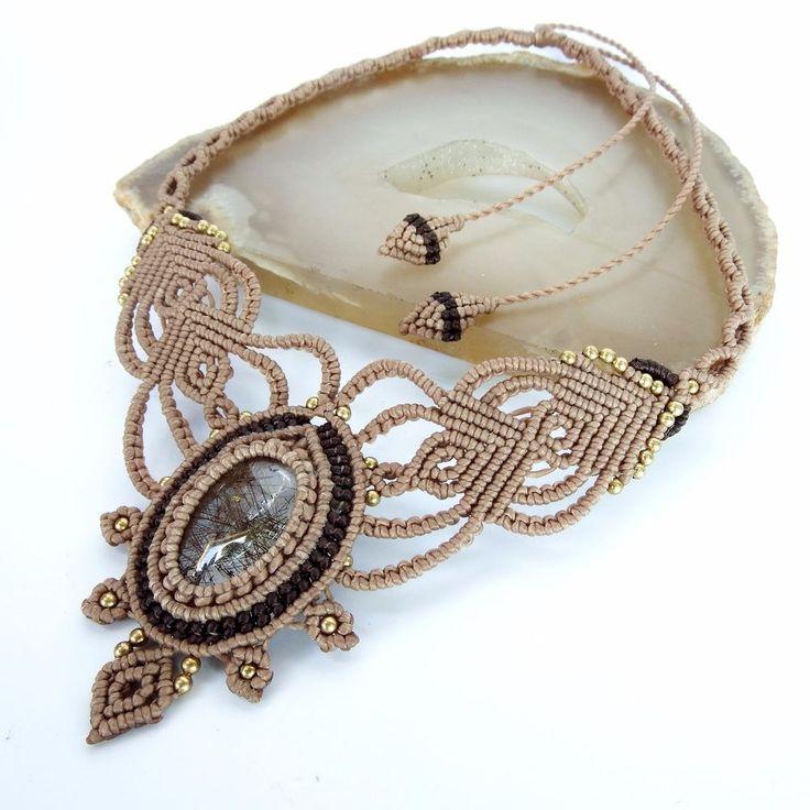 Macrame Necklace Pendant Cabochon Rutilated Quartz Stone Cotton Waxed Handmade…