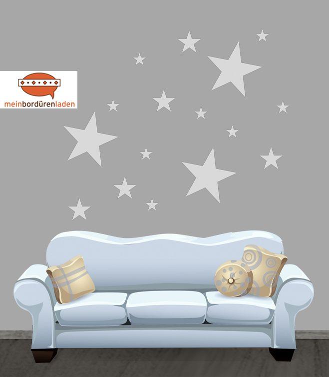 Fresh Wandtattoo Sterne in verschiedenen Farbt nen DaWanda meinborduerenladen de