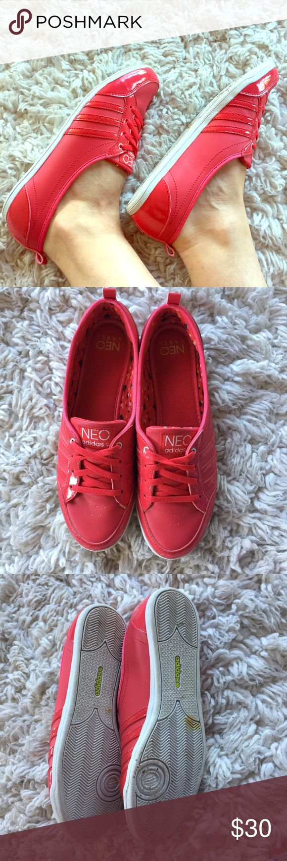 Adidas Neo red sneakers  Cute red adidas Neo sneakers. The are like ballerinas super comfy and cute. I cut the laces to make them shorter. Wore them 5 times. I will clean the soles! Bought them in Germany  Adidas Shoes Sneakers