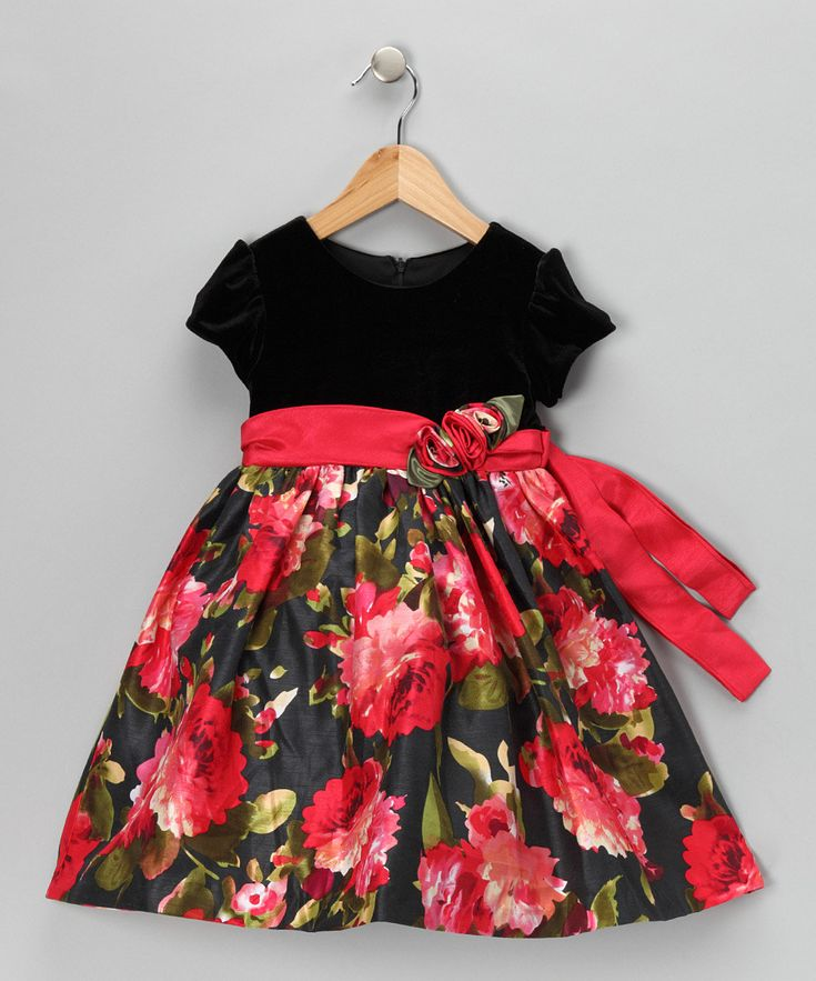 Beautiful dress for Christmas and/or family photo.  See Red  Black Floral Velvet Dress on zulily.com.