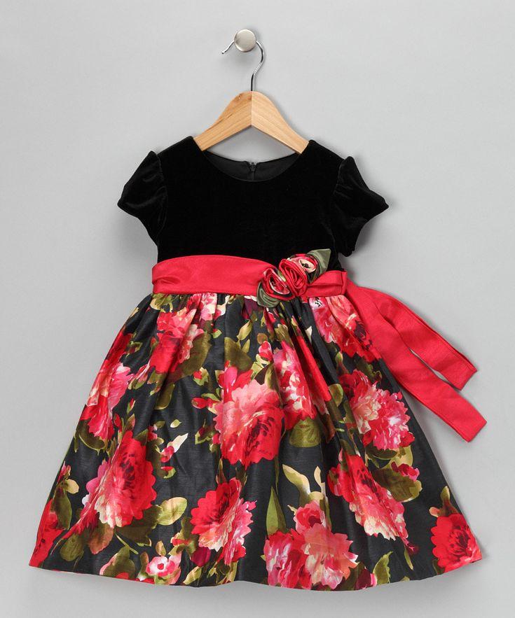 #Red & #Black #Floral #Velvet #Dress on #zulily