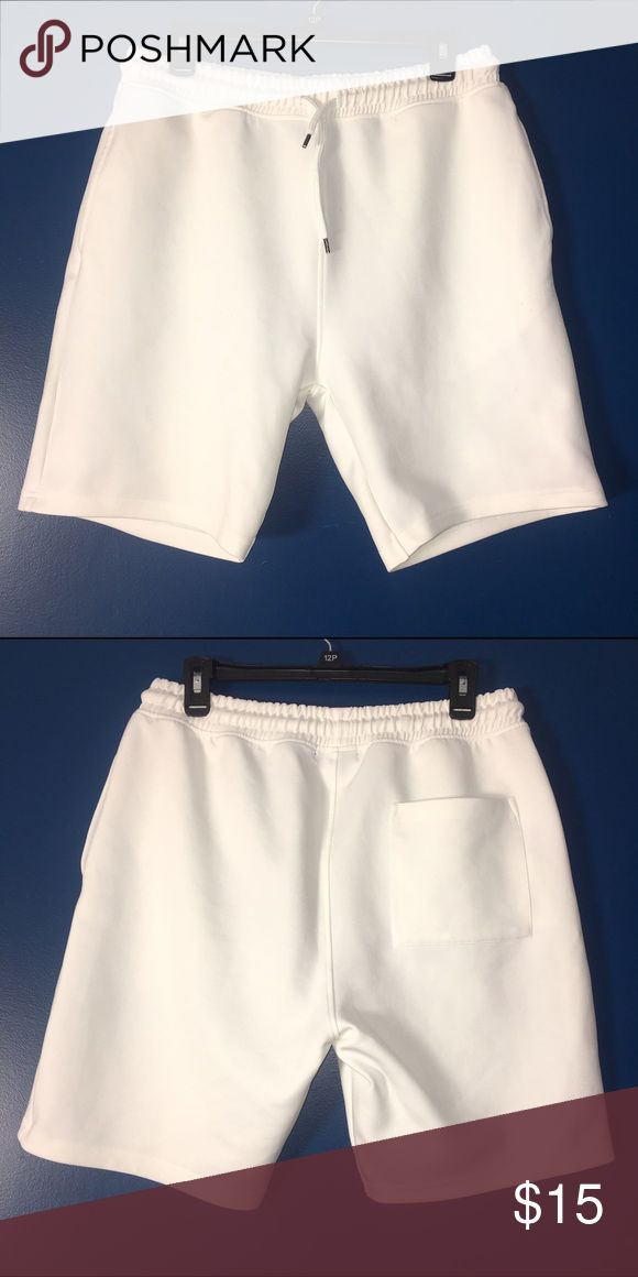Topman White Shorts (Size: 32/34) These are white Topman shorts made of 92% Polyester and 8% Elasthanne. They have been worn but are in good condition. There is some light pilling. Topman Shorts