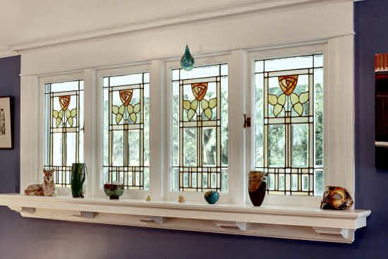 Arts and crafts stylized rose stained glass windows in the style of designer Dard Hunter