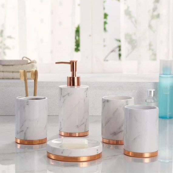 Marble Look With Rose Gold Trim 5 Piece Bathroom Accessory Set Ships From Usa Marble Bathroom Accessories Bathroom Accessories Sets Gold Bathroom Decor