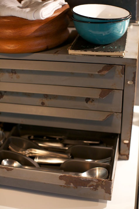 Repurposed kitchen storage from an old tool box.