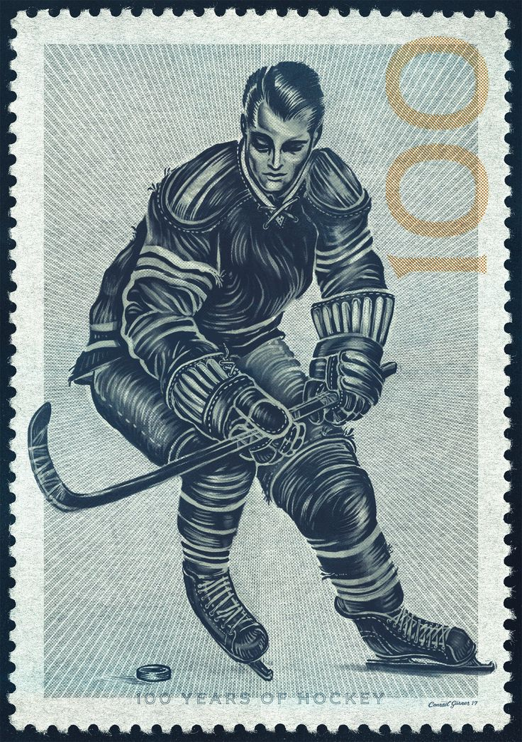 A piece of fan art I created in celebration of the NHL's 100 years of hockey. 1917-2017 Vintage Hockey Commemorative Centennial Season stamp art.