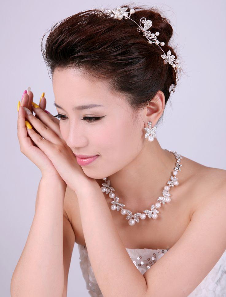신부 액세서리 설정 세 가지 결혼 액세서리 공식 웨딩 드레스 신부 들러리 보석 헤어 액세서리 목걸이