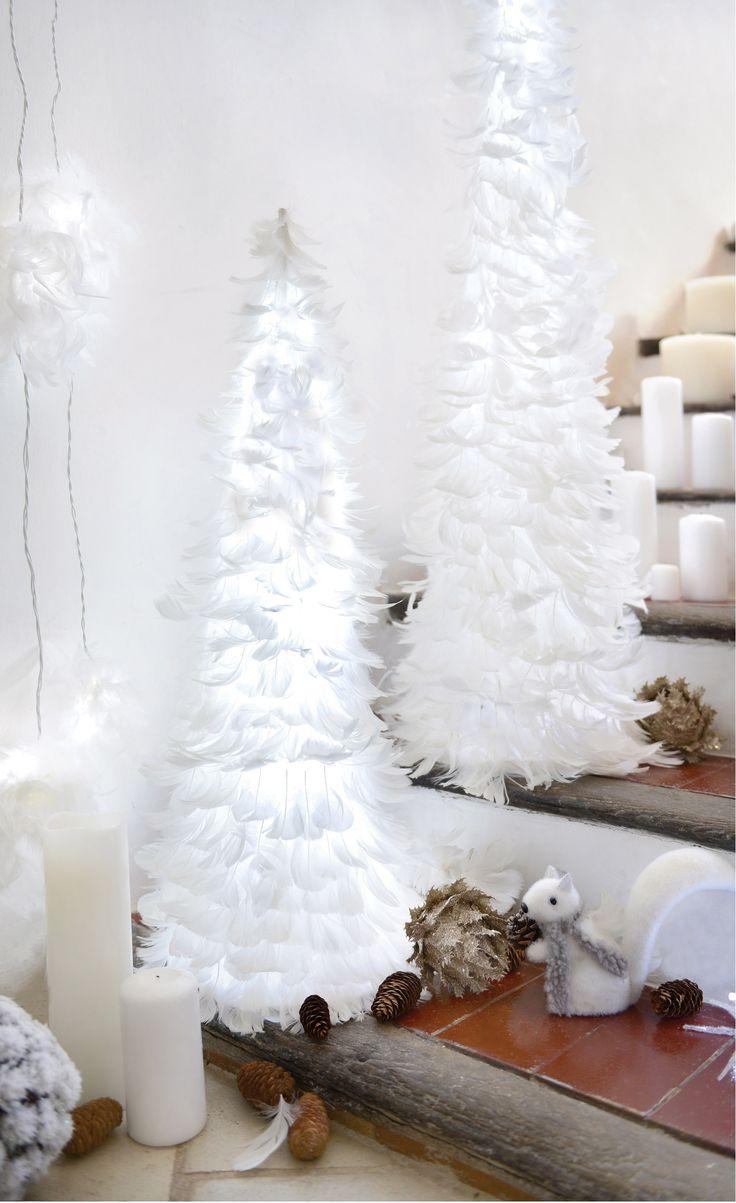 guirlande noel plume blanche