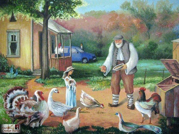 In ograda bunicului  90 x 70 cm / ulei pe panza Pictura realizata de Cristian Hartie