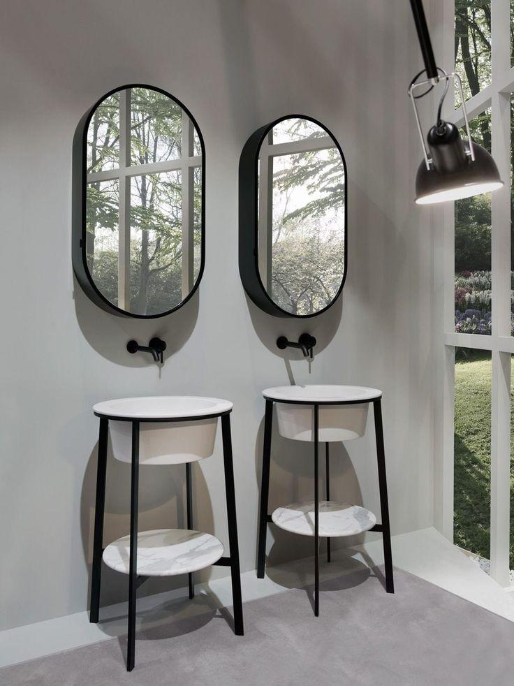 Design washbasin cabinet / ceramic / free-standing / with mirror - CATINO TONDO by Andrea Parisio Giuseppe Pezzano - Ceramica Cielo