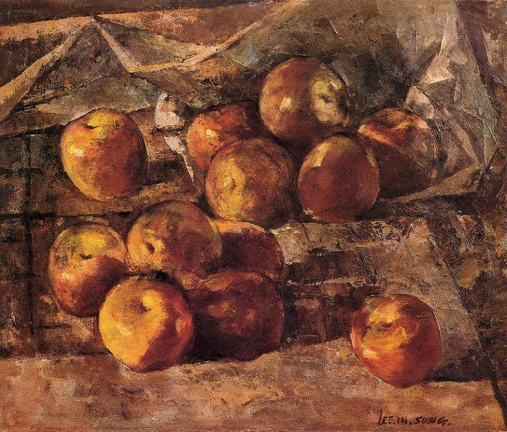 <사과 있는 정물> 38 x 45.5cm, 이인성 作