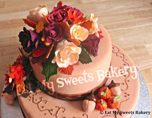 Autumn Inspired 2- Tier Cake  Gumpaste roses and 3-D pumpkins and acorns