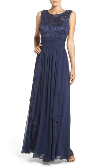 Eliza J Lace & Chiffon Gown (Regular & Petite) available at #Nordstrom