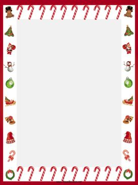 Candy canes and other festive images adorn this free, printable Christmas border. Free to download and print.