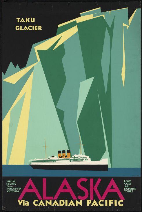 Alaska vintage travel poster