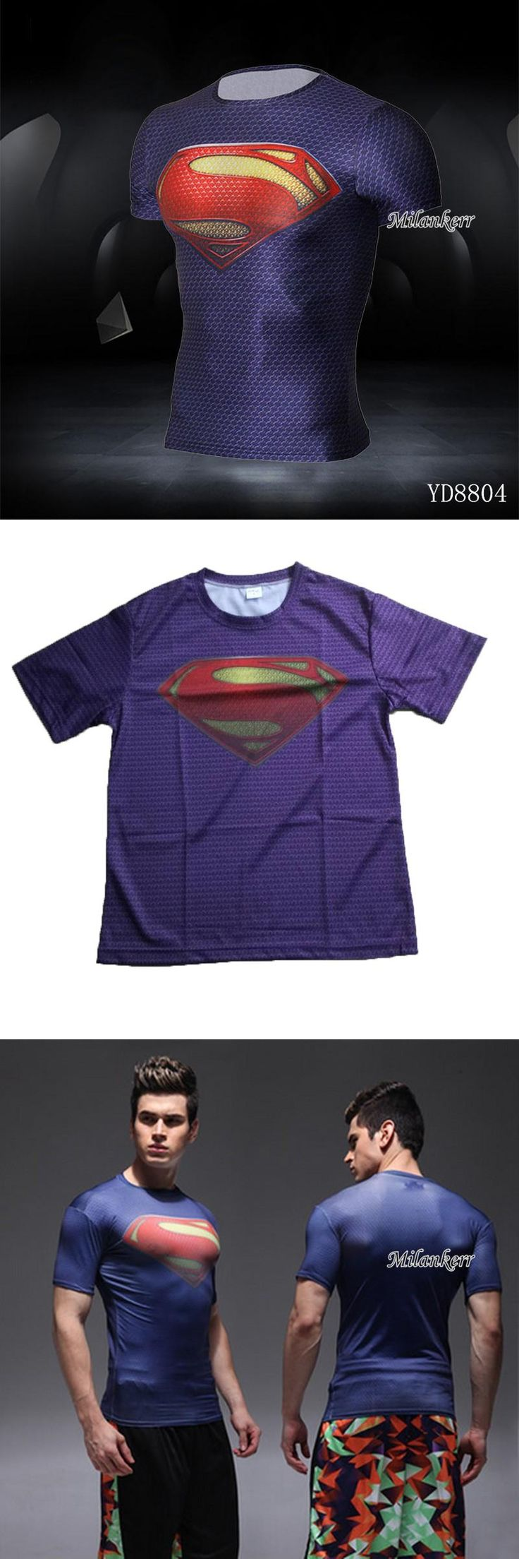 [Visit to Buy] Superman Compressedt Sport Shirt Hiking Runing T-shirt Sports Men Clothing Breathable Quick Dry Fitness Man Biking Clothing #Advertisement