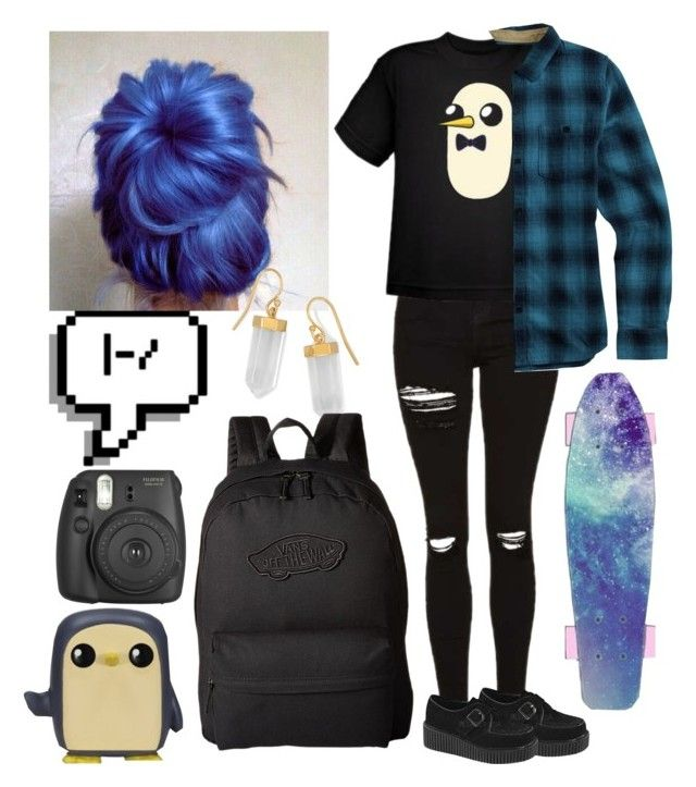 """emo Gunter"" by nefelisas ❤ liked on Polyvore featuring Topshop, Demonia, Burton, Funko, BillyTheTree, Fujifilm and Vans"