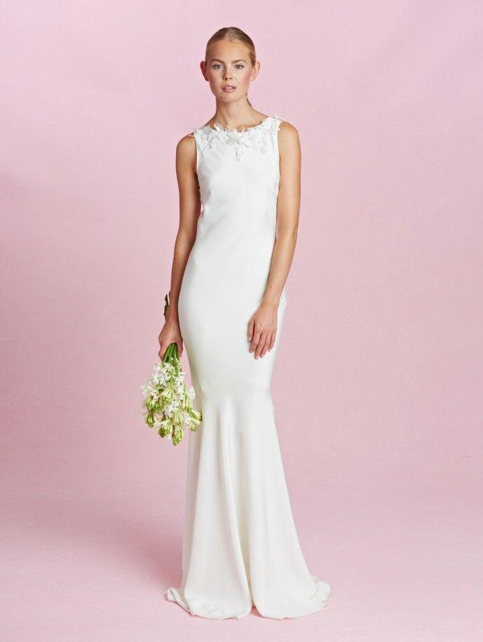 2015 dOscar de la Renta - Robe de mariée sans manches en crêpe de ...