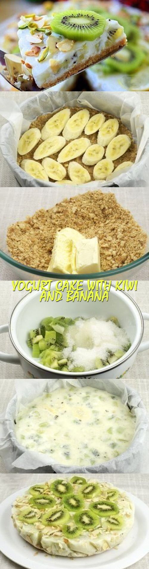 Yogurt cake with kiwi and banana