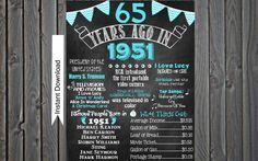 65th Birthday Chalkboard 1951 Poster 65 by ChalkingItUpBoards