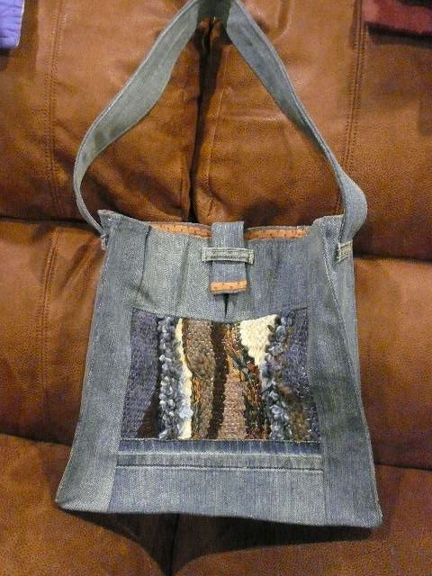 Pin weaving denim tote